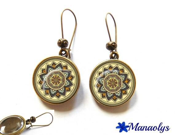 Earrings sleepers bronze, retro, multicolored patterns, mandala 2310