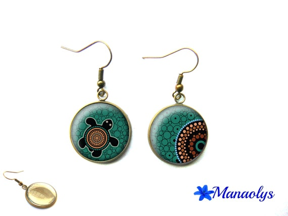 Turtle, turtle earrings ethnic, ethnic pattern, cabochons glass 3623