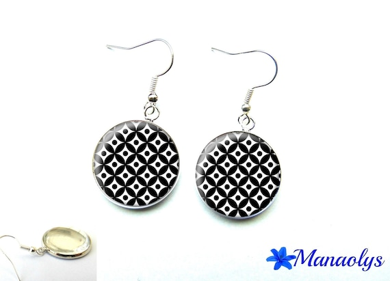 Black and white patterns 2654 glass cabochons earrings