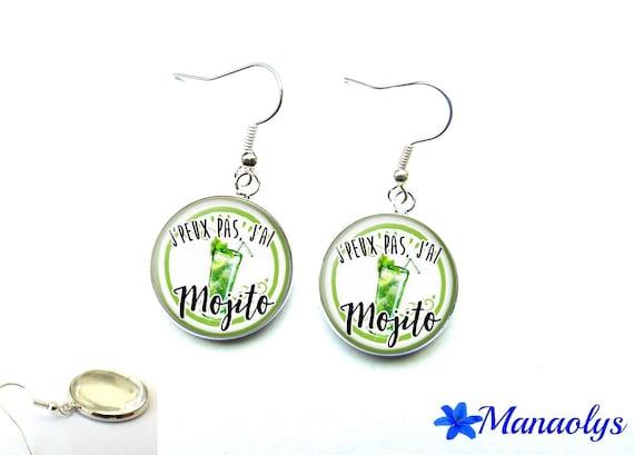 Mojito earrings humorous 2779 glass cabochons earrings