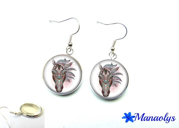 Colorful horse earrings, ethnic designs, 2061 glass cabochons