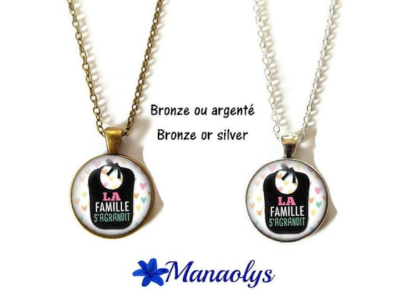 Grows in pregnancy, family necklace, glass, silver or bronze supports cabochons