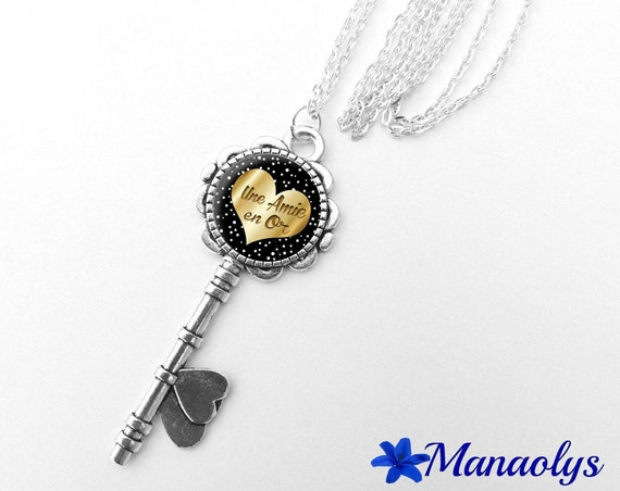 "Necklace silver key, message ""Friend in gold"" glass cabochon 354"