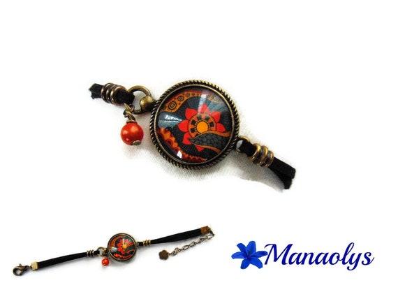 Ethnic, tribal bracelet, bracelet cabochon Black Suede bracelet, bronze