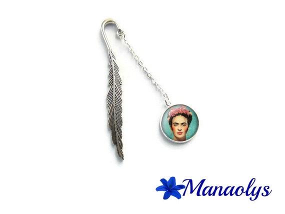 Frida Kahlo, feather, 6 glass cabochon bookmark