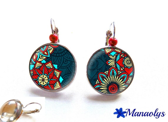 Earrings sleepers pattern red, blue and turquoise, glass cabochons, beads magic 3101
