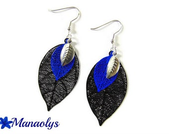 Lightweight earrings, feathers, leaves, black and blue 3219