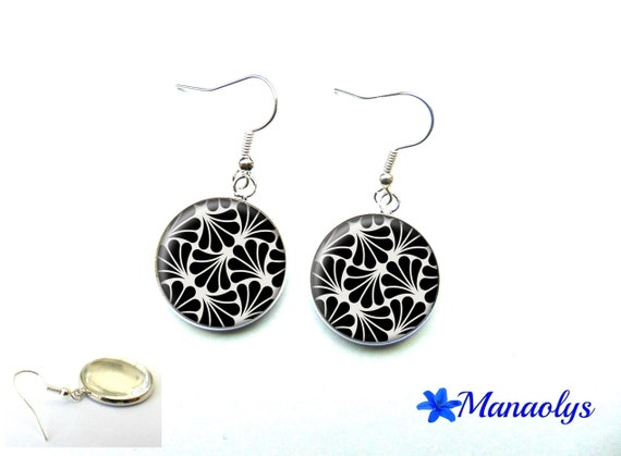 Silver earrings, art deco patterns, new art glass 3254 round cabochons