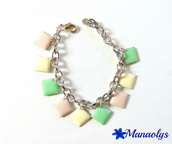 Bracelet soft multicolored enameled charms diamonds, green, pale pink and ivory 145