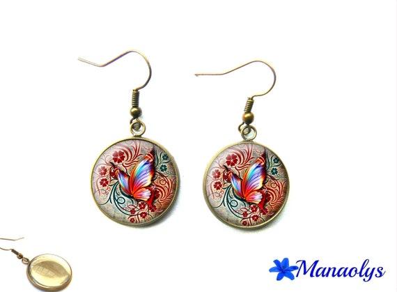 Butterflies, vintage, retro, 1482 glass cabochons earrings