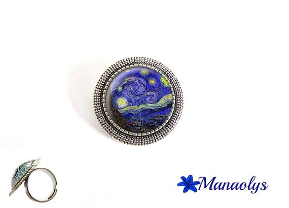 ring adjustable round antique silver, Vincent Van gogh, starry night, painter, 211 glass cabochons
