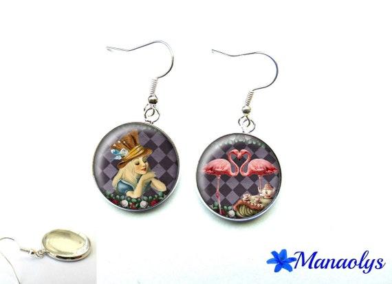 "Earrings ""Alice in Wonderland of"" pink Flamingo, 2977 glass cabochons"