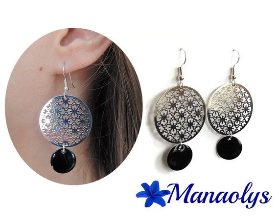 Ethnic earrings, silver openwork pendants, Bohemian, black enamel sequins