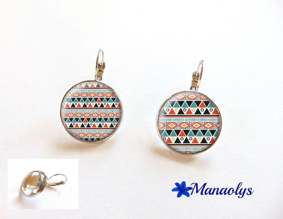 Mismatched, asymmetrical, boho earrings, Bohemian pattern 3268 ethnic earrings, Stud Earrings