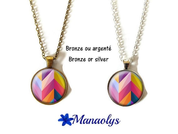 Necklace multicolored, chevron, colorful, necklace cabochons glass, silver or bronze backings