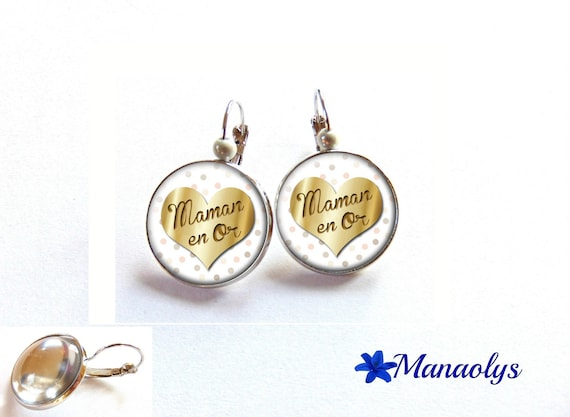 Earrings sleepers MOM in gold, mother's day, gift MOM 3388 glass cabochons