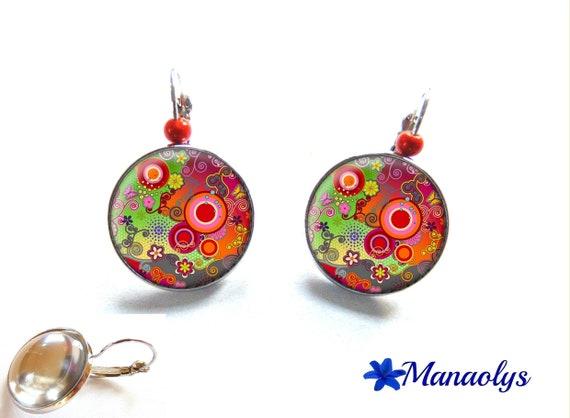 Colorful earrings, Stud Earrings, multicolored round patterns, glass cabochons, beads magic 3078