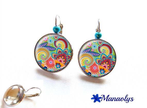 Earrings colorful, sleepers, multicolored patterns, cabochons glass 2163