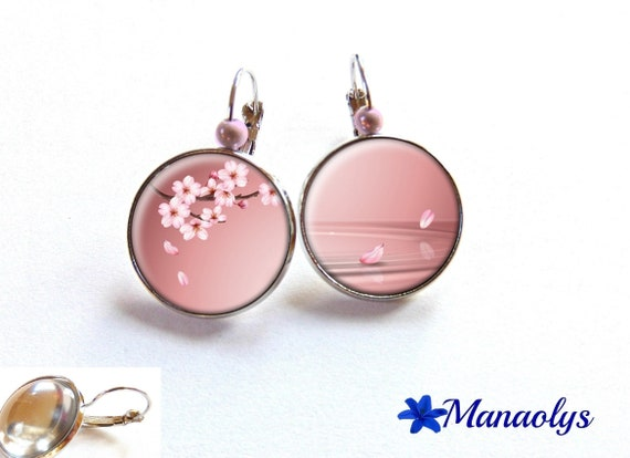 Earrings sleepers in Japan, Sakura, 3183 glass cabochons flowers
