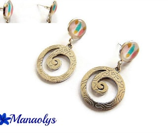 Stud Earrings, double cabochons, multicolored feathers 2859