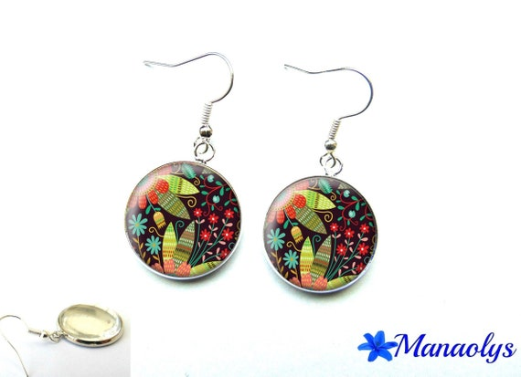 Earrings multicolored flowers, cabochons glass 2317