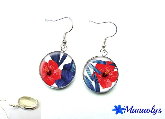 Hibiscus and blue leaves on white background, 2403 glass cabochons earrings