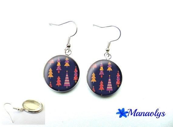 Christmas tree earrings, Christmas, Christmas gift, 3631 glass cabochons