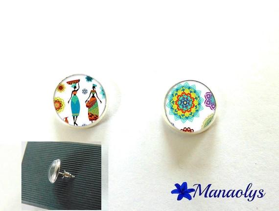 Earrings round silver Stud Earrings, African, African women 3097 glass cabochons