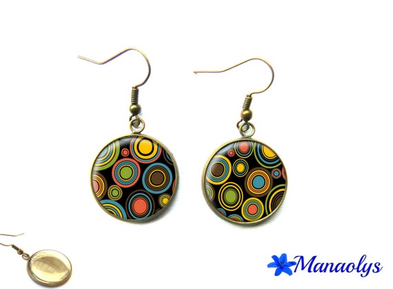 Colorful earrings, multicolored round, bronze, vintage, 3161 glass cabochons