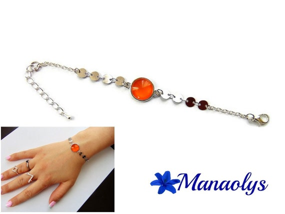 Bracelet fine cabochon orange glass, silver chains, gift idea, birthday, mothers day