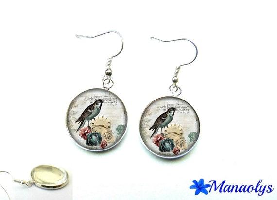 Birds, vintage glass 1297 cabochons earrings