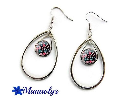 Silver drop earrings silver, 3133 glass cabochons