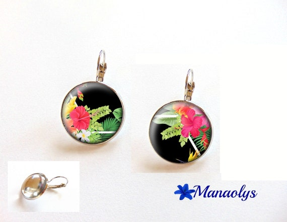 Hibiscus flower, exotic, tropical, studs, glass 3519 cabochons earrings