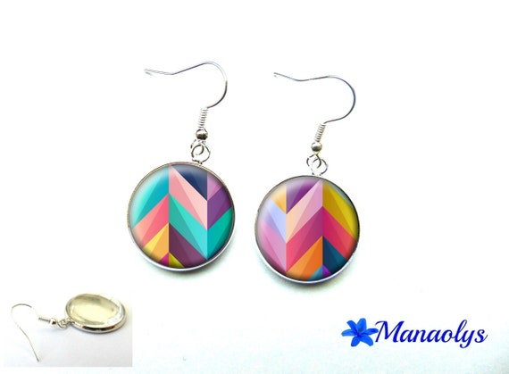 Colorful earrings, multicolored patterns, chevrons, 3562 glass cabochons