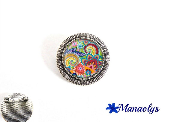 Brooch antique silver round, multicolored patterns, glass cabochons