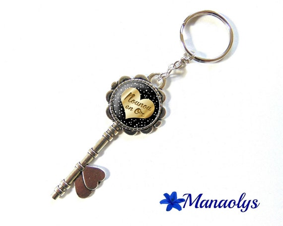 Key ring or jewelry bag, message, nanny, 138 glass cabochons