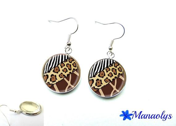 Pierced ears pattern Zebra, leopard, giraffe, 266 glass cabochons