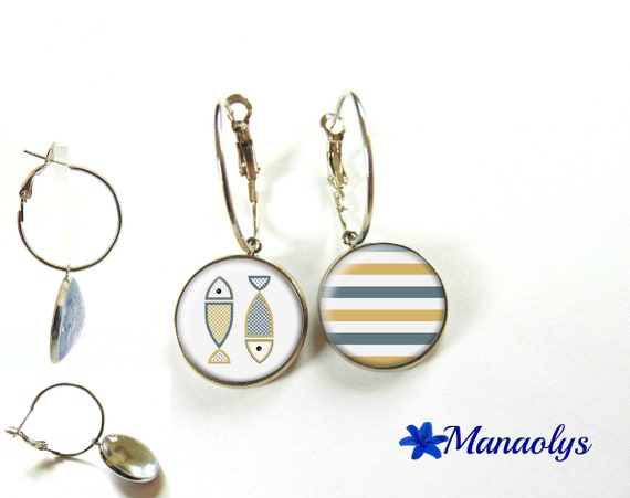 Fish, marine style, citrine chips 3329 glass cabochons earrings