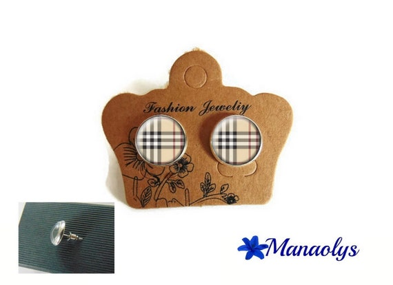 Stud Earrings, burberry Plaid chips Plaid 3545 glass cabochons