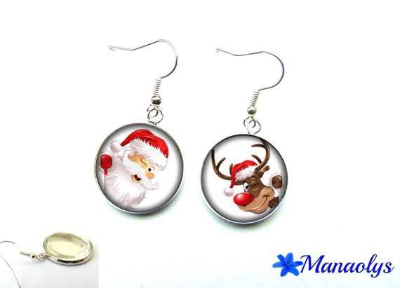 Reindeer and Santa Claus earrings, Christmas, 2532 glass cabochons