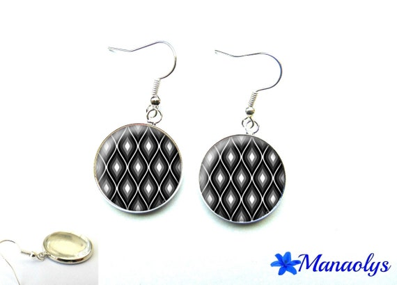 Black, grey and white patterns, glass cabochons, earrings mothers day 2608