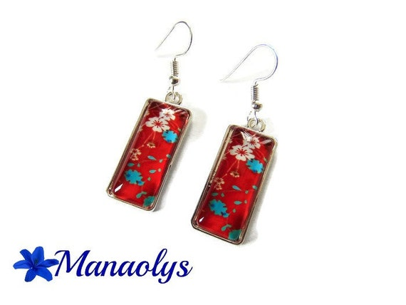 Rectangle earrings, white flowers, blue flowers on red background, sakura, glass cabochons