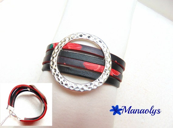 Silver bracelet cuff, black, red, genuine leather and split leather, passing 412
