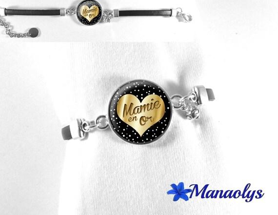 Mothers day Grandma Grandma gold glass cabochon black leather bracelet
