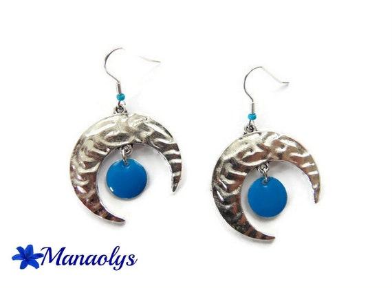Moons and blue enameled charms 3087 pendants earrings