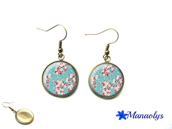 Flower Earrings from Japan, Sakura, cherry, bronze vintage cabochon glass 3416