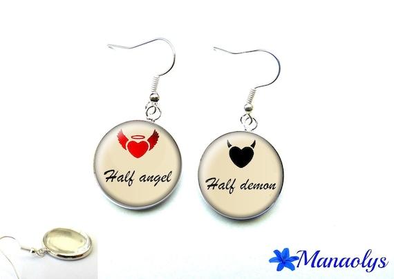 Half angel, half demon 1256 glass cabochons earrings