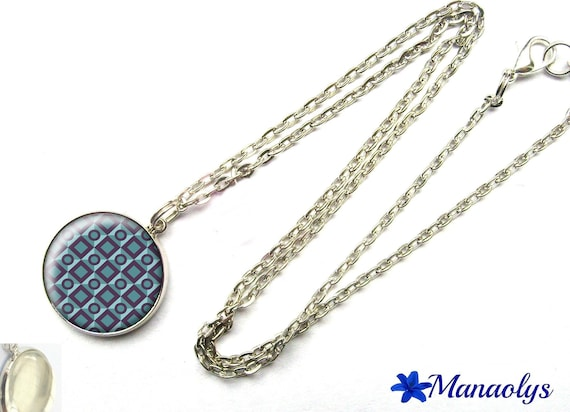 Geometric gray-blue, glass cabochon silver plated chain necklace