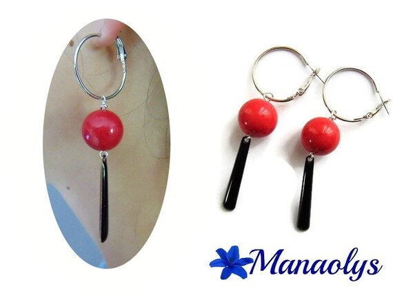 Earrings red and black dangling hoops, glass beads and enamel pendants