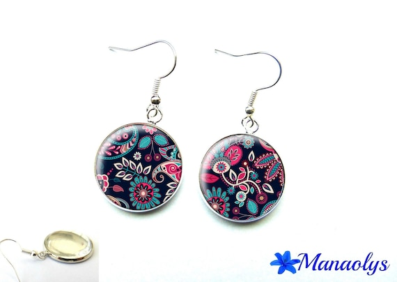 Colorful earrings, multicolored patterns, 2930 glass cabochons